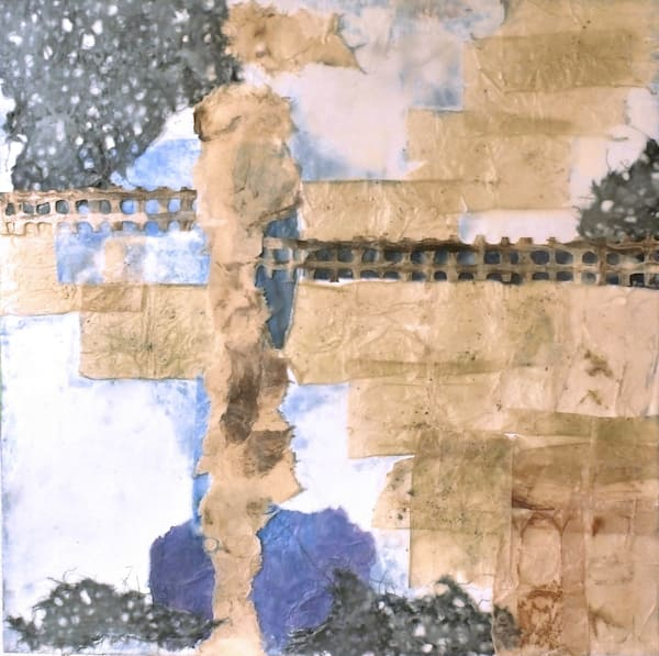 Don't Fence Me In is a mixed media abstraction image created by American Artist Barbara Tabachnick