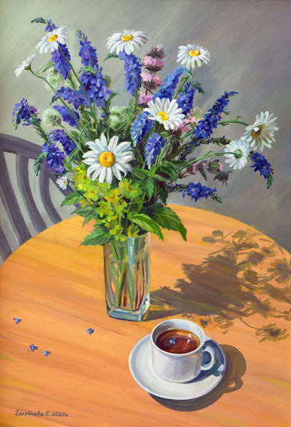 The Morning Tea by artist Elena Golubkova from Moscow, Russia