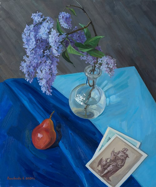 Lilac is a still life oil painting by artist Elena Golubkova from Moscow, Russia