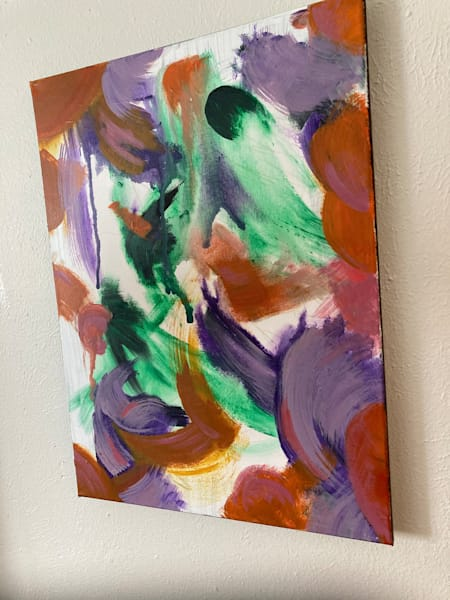 Acrylic and pencil abstract painting on canvas