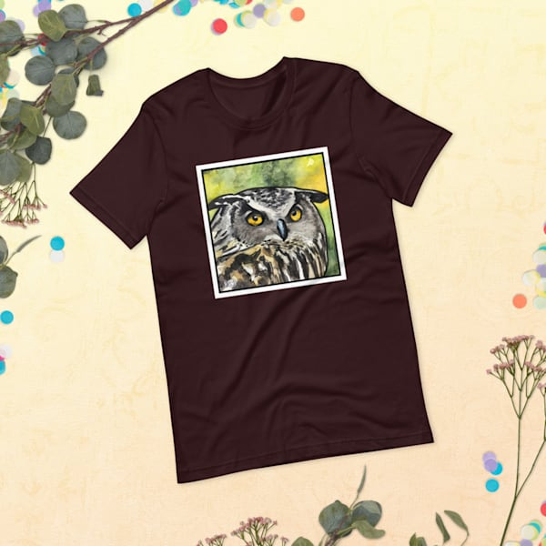 Great Horned Owl Tshirt Without Words | Water+Ink Studios