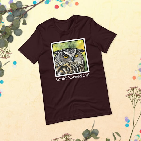 Great Horned Owl Tshirt With Words | Water+Ink Studios