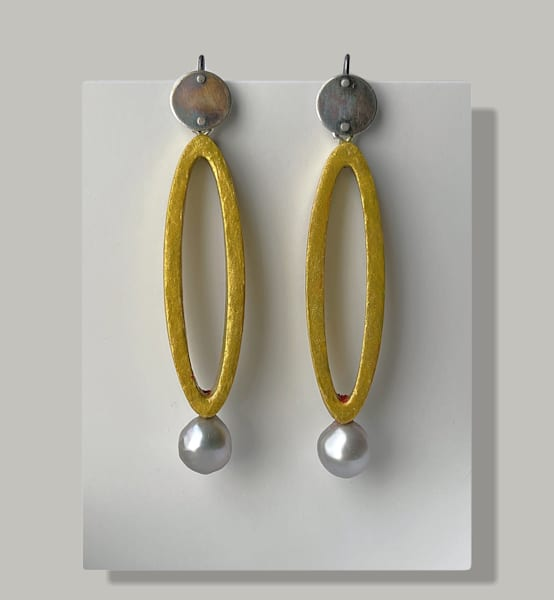 """""""Silver And Gold"""" Long Oval Earrings With Pearl 