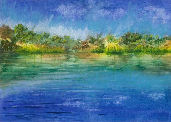 """Lake Dixon Abstract Reflection Reeds"" -  Watercolor Reproduction"