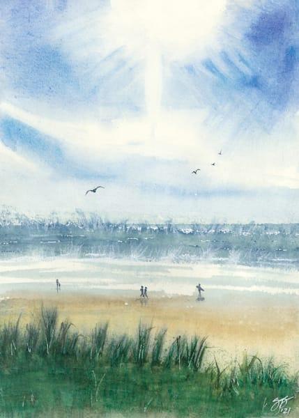 """Beach Walk"" - Watercolor Reproduction"