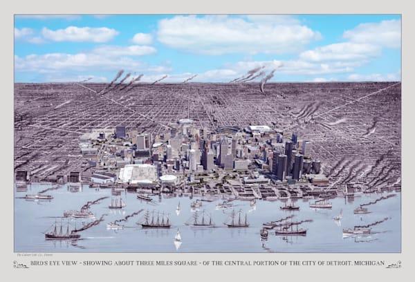 Bird's Eye View Of Detroit 1889 Art   Mark Hersch Photography