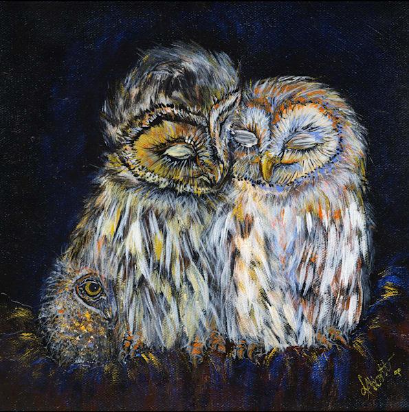 Owl Family Art   lisaabbott