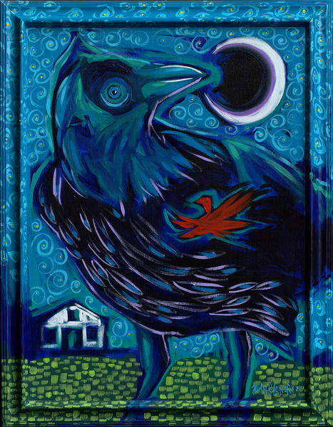 Whimsical landscape and crow paintings by Texas artist, John R. Lowery available as art prints