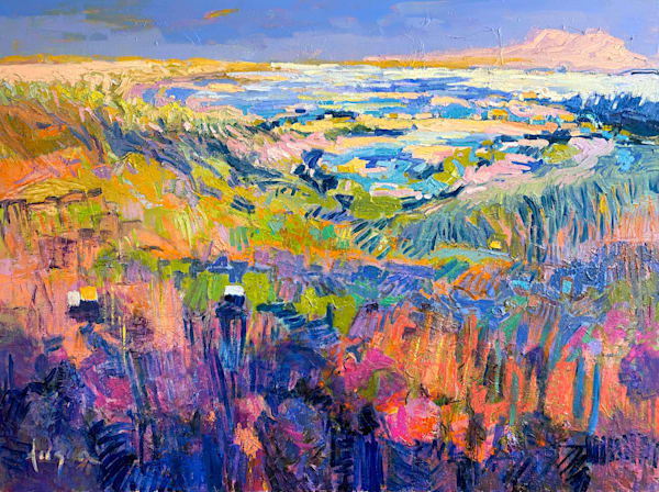 Large Blue Abstract Landscape Oil Painting by Dorothy Fagan