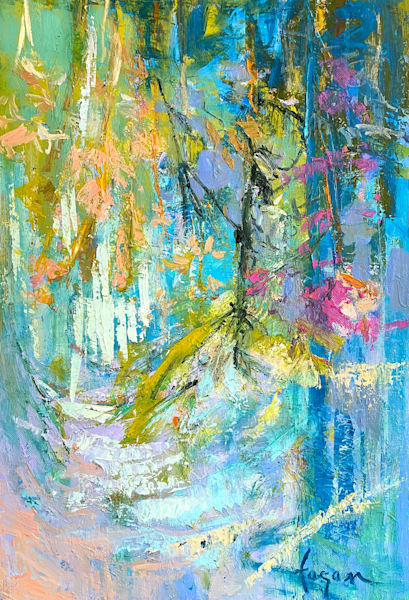 Blue Green Abstract Oil Painting by Dorothy Fagan