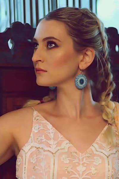Blue Circle Earrings (A)