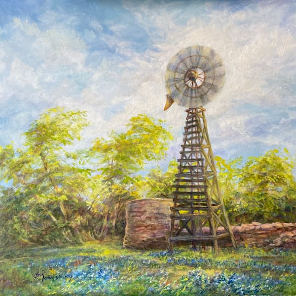 Lindy Cook Severns Art | Spinning the Blues, original oil