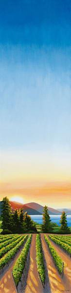 Hush, 48x12, acrylic on canvas, inspired by the Okanagan