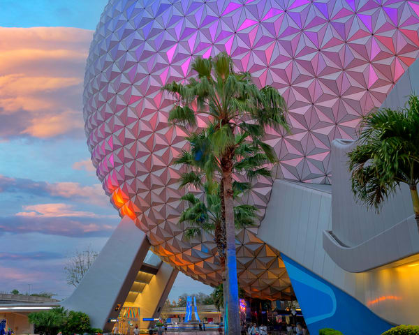 Spaceship Earth and Palm Trees at Dusk - Disney World Art   William Drew