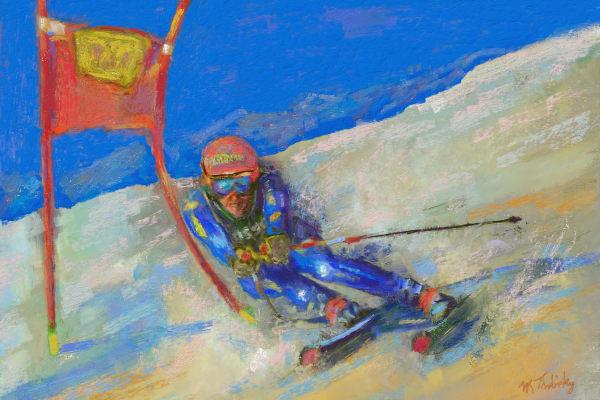 Slalom ski painting | Sports artist Mark Trubisky | Custom Sports Art