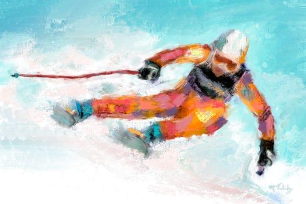 Downhill ski painting | Sports artist Mark Trubisky | Custom Sports Art