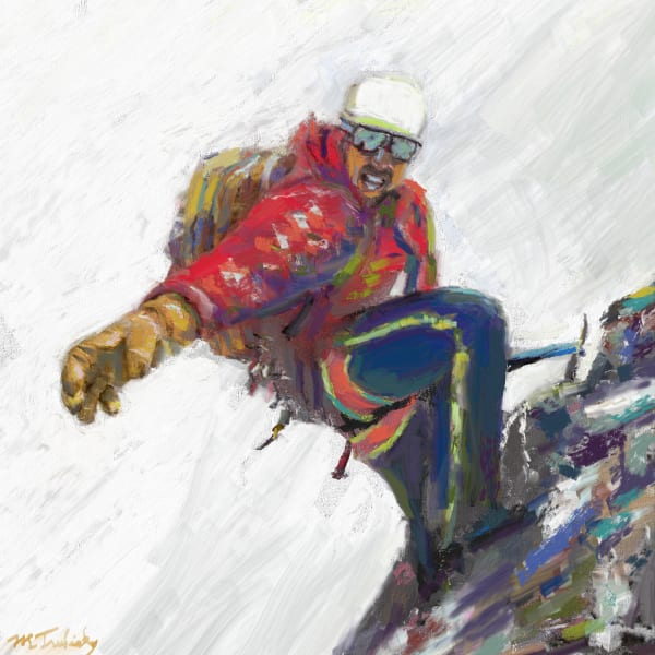 Mountain climbing painting | Sports artist Mark Trubisky | Custom Sports Art