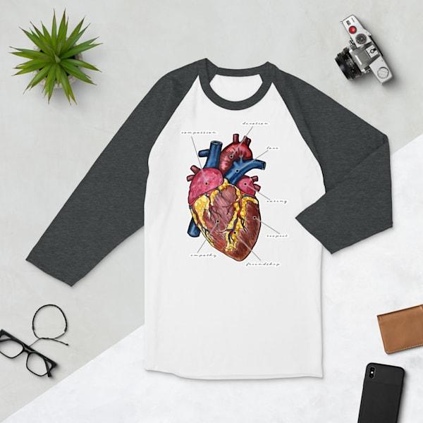 Heart 3/4 Sleeve Raglan Tshirt | Water+Ink Studios