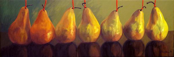Pears With Red Strings Art | Helen Vaughn Fine Art