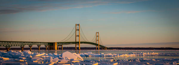 Winter Sunrise Over Mackinac Bridge Photography Art | Ursula Hoppe Photography