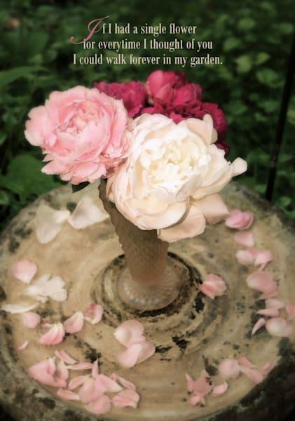 Peonies, Petals & Birdbath Embellished Art
