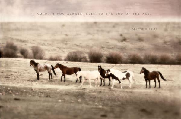 Inspirational Row of Horses Embellished Art