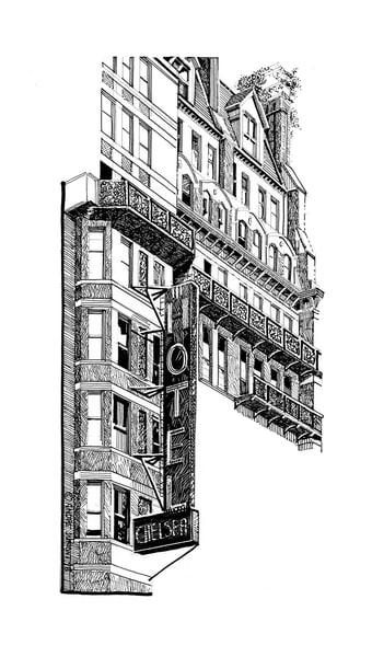 The Chelsea, Nyc Art | Andre Junget Illustration LLC