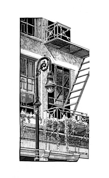 Village Fire Escape, Nyc Art | Andre Junget Illustration LLC