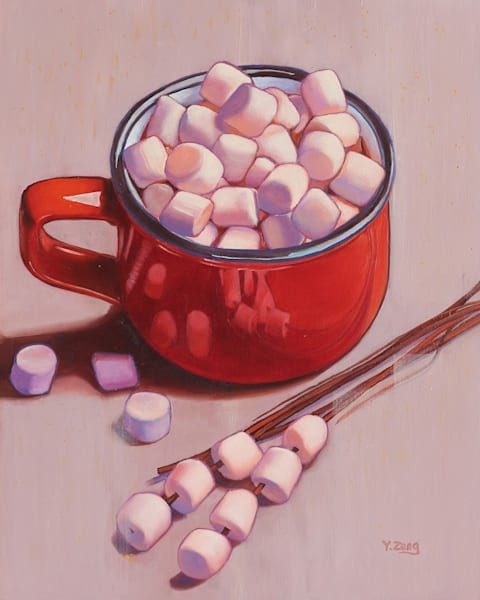 Hot Chocolate with Marshmallows by Yue Zeng an Chinese American painter.