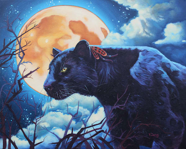 Night Watcher Black Panther by Yue Zeng an Chinese American painter.