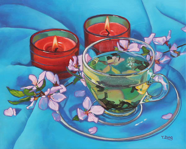 Cherry Tea and Candles by Yue Zeng an Chinese American painter.