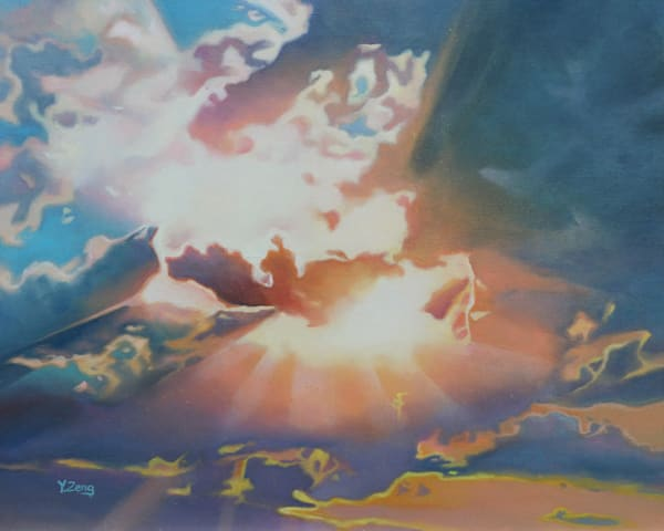 Sunbeams Through Clouds by Yue Zeng a Chinese-American painter.