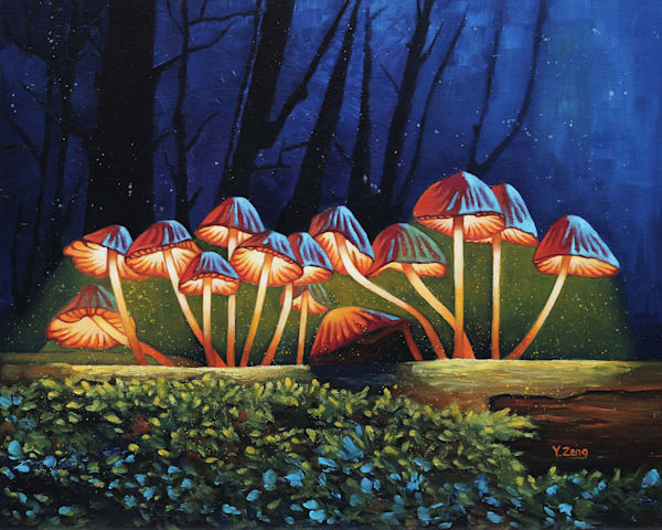 Nightlights Glowing Mushrooms by Yue Zeng a Chinese American painter.