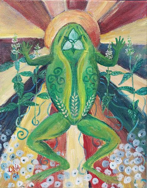 Original Frog spirit animal painting