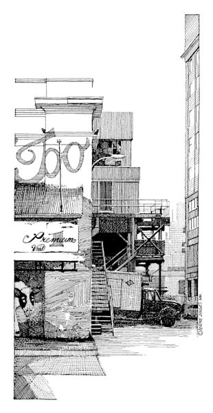 Meat Packing District, Nyc Pen & Ink Art   Andre Junget Illustration LLC