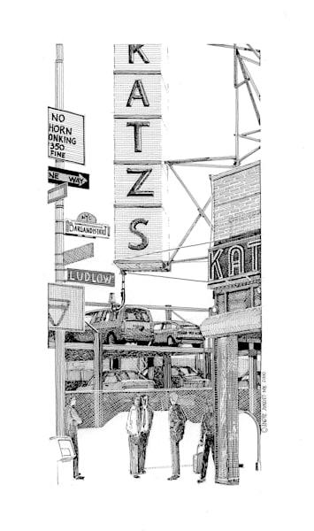 Katzs Deli, Nyc Pen & Ink Art   Andre Junget Illustration LLC