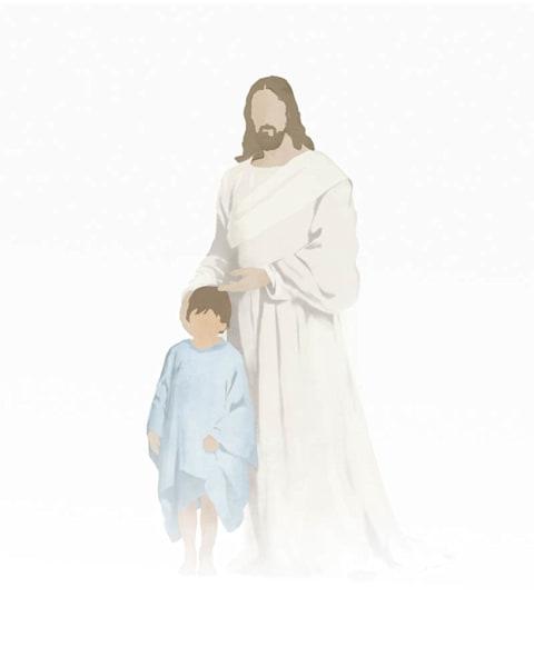 Christ with Boy - Light Skin Brown Hair