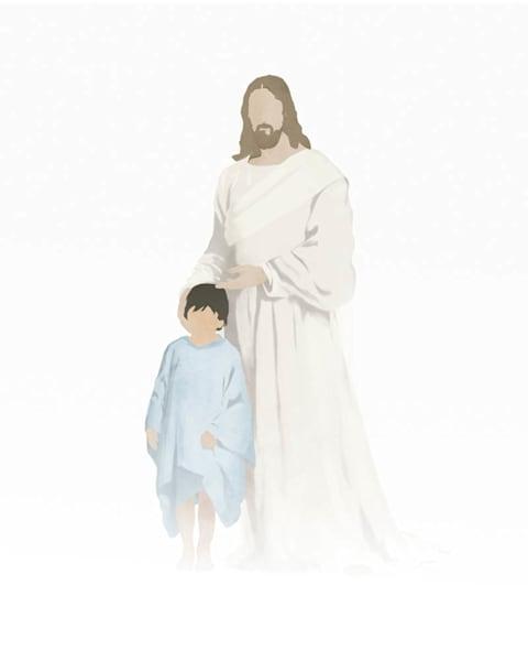 Christ with Boy - Light Skin Dark Hair