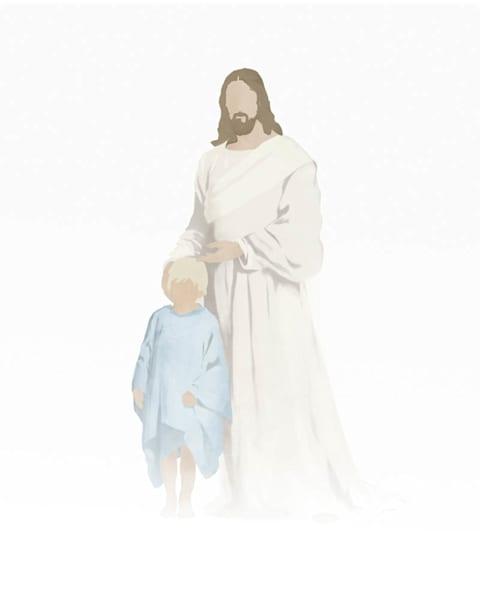Christ with Boy - Light Skin Light Blonde Hair