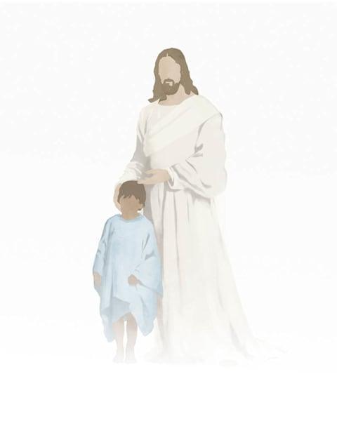 Christ with Boy - Medium Skin Brown Hair