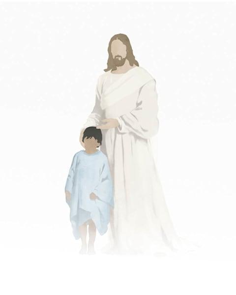 Christ with Boy - Medium Skin Dark Hair