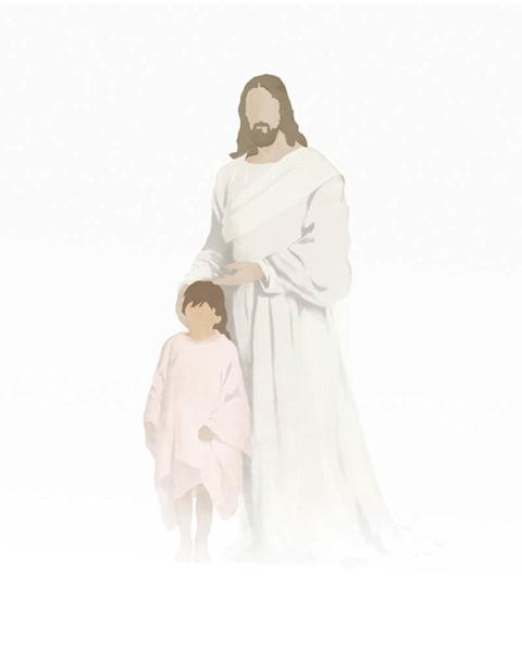 Christ with Girl - Light Skin Brown Hair