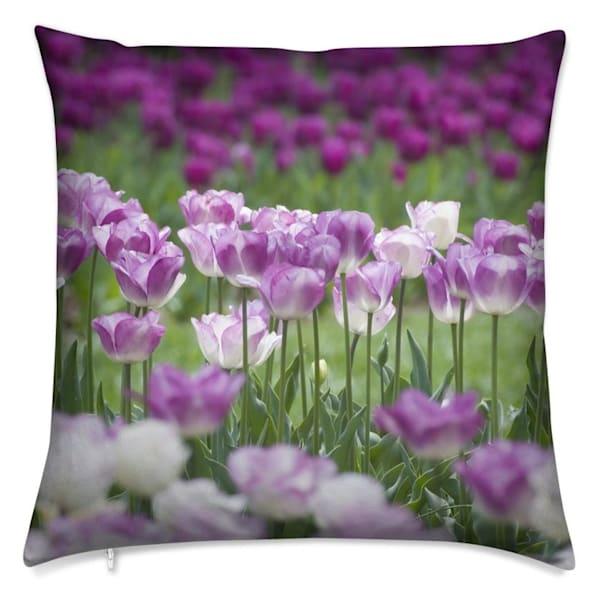Throw pillow with purple tulip photographic design