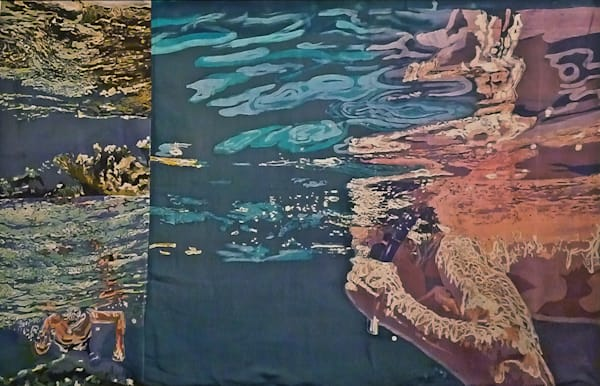 Agua Uno i by artist Muffy Clark Gill is a batik painting on silk featuring a man swimming underwater