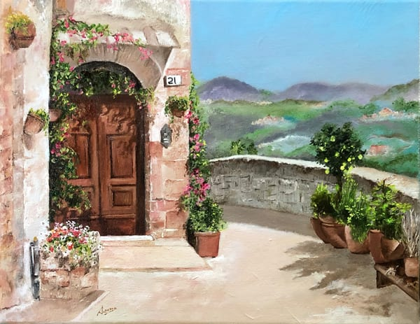 Tuscan Courtyard by Suparna Sain, a painter from India