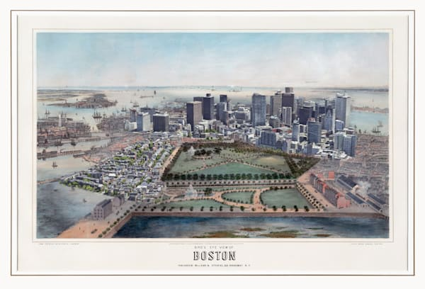 Bird's Eye View Of Boston 1850 Art   Mark Hersch Photography