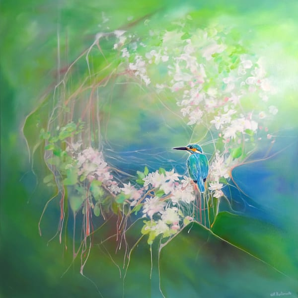 oil painting of a kingfisher sitting on a branch of white blossom.