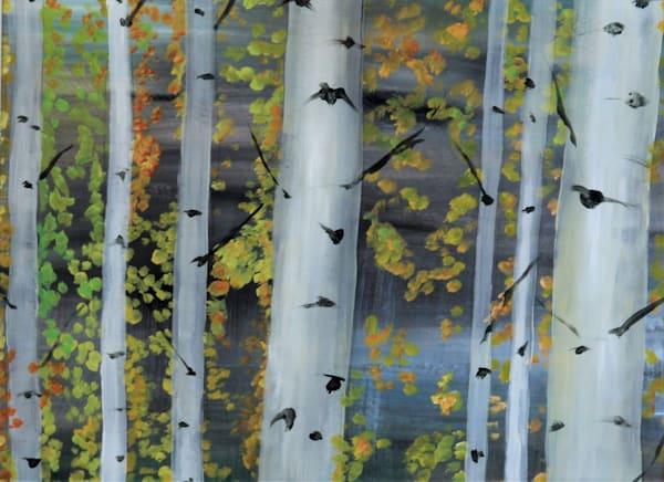 Moody aspen trees