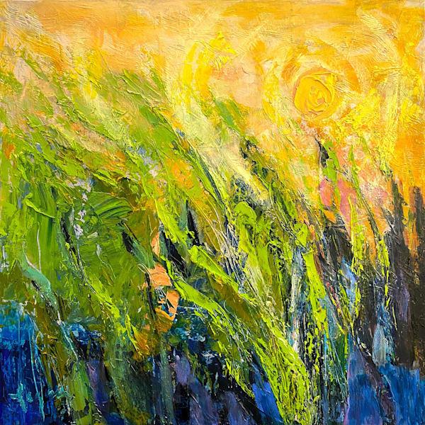 Small Marsh Oil Painting, Sunrise Original by Dorothy Fagan