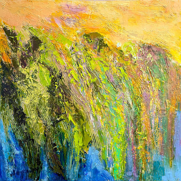 Golden marsh abstract painting